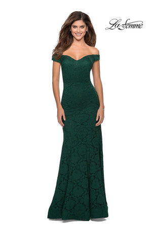 La Femme 28545 prom dress images.  La Femme 28545 is available in these colors: Black, Emerald, Red, Royal Blue, White.