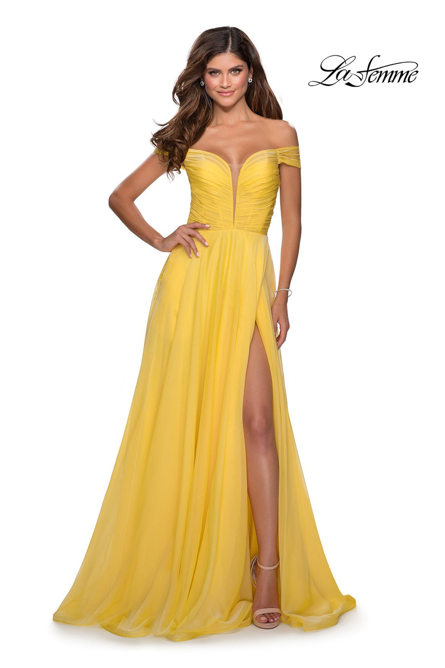 La Femme 28546 prom dress images.  La Femme 28546 is available in these colors: Red, Royal Blue, Yellow.
