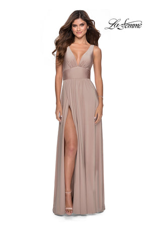 La Femme 28547 prom dress images.  La Femme 28547 is available in these colors: Black, Dark Berry, Mauve, Nude, Silver.