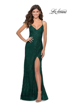 La Femme 28548 prom dress images.  La Femme 28548 is available in these colors: Emerald, Neon Pink, Pale Yellow, Red, Royal Blue.