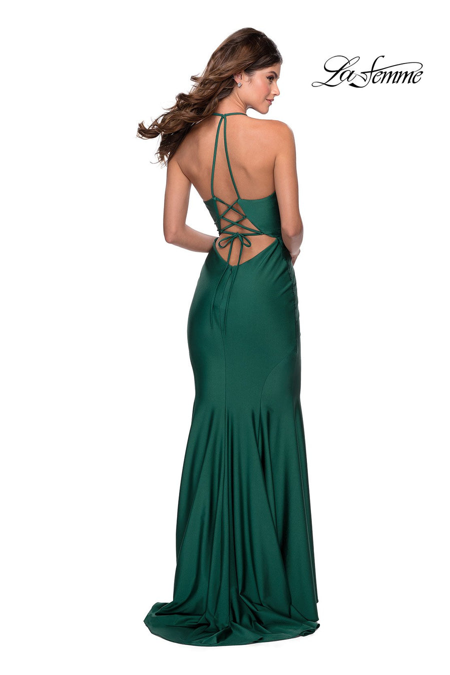 La Femme 28552 prom dress images.  La Femme 28552 is available in these colors: Black, Burgundy, Emerald.