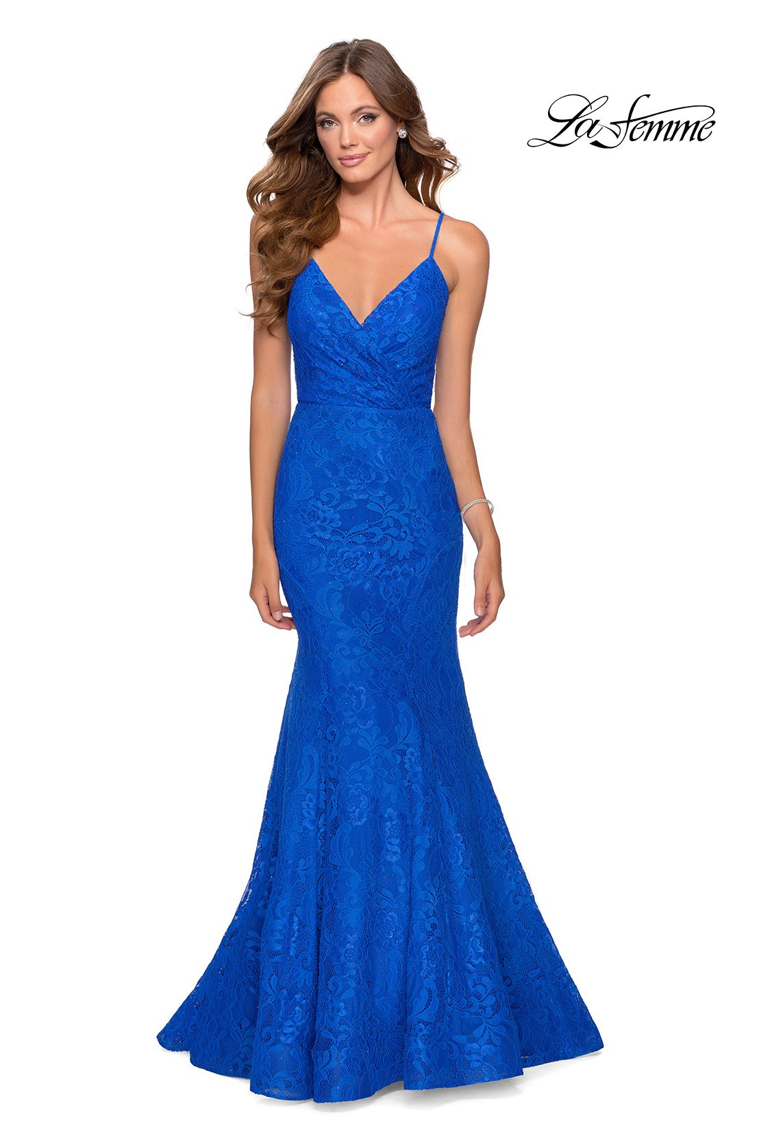La Femme 28564 prom dress images.  La Femme 28564 is available in these colors: Dark Berry, Emerald, Red, Royal Blue.