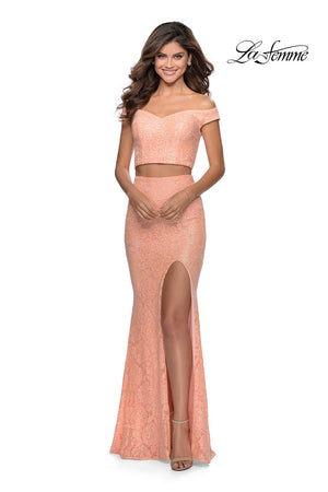 La Femme 28565 prom dress images.  La Femme 28565 is available in these colors: Lavender, Pale Yellow, Peach, White.
