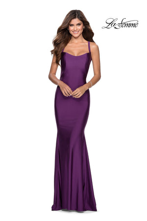 La Femme 28568 prom dress images.  La Femme 28568 is available in these colors: Black, Burgundy, Emerald, Royal Blue, Royal Purple.