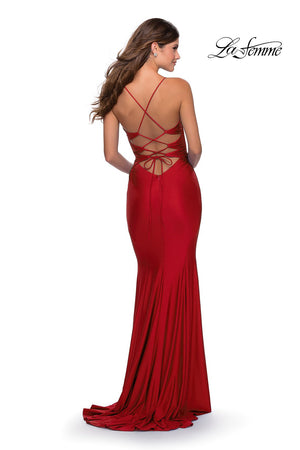 La Femme 28574 prom dress images.  La Femme 28574 is available in these colors: Dark Berry, Light Periwinkle, Red, Royal Blue, Royal Purple.