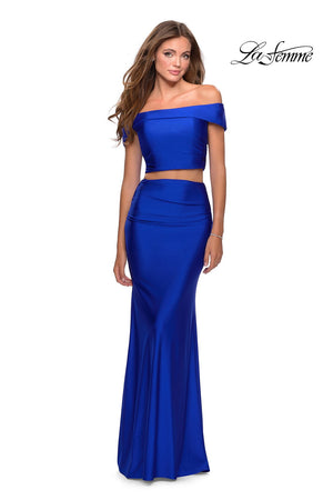 La Femme 28578 prom dress images.  La Femme 28578 is available in these colors: Red, Royal Blue, Royal Purple.