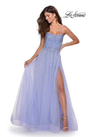 La Femme 28583 prom dress images.  La Femme 28583 is available in these colors: Lilac Mist, Mint, Pale Yellow.