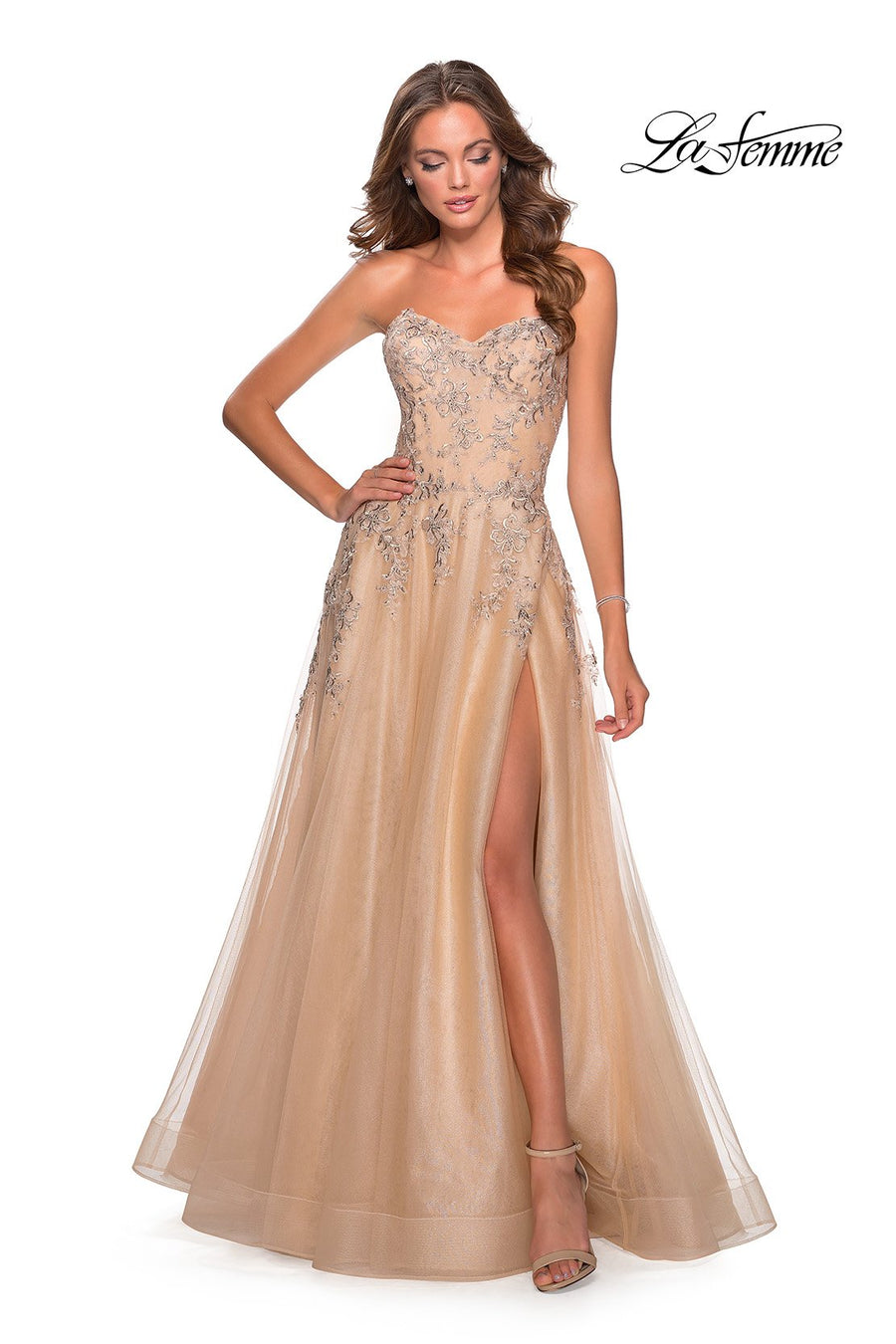 La Femme 28599 prom dress images.  La Femme 28599 is available in these colors: Lilac Mist, Navy, Nude, Wine.
