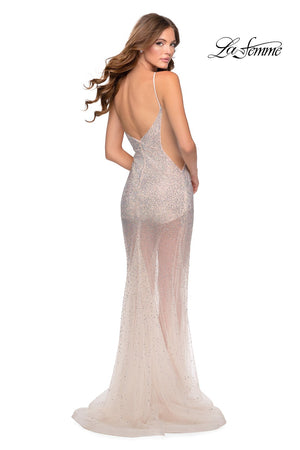 La Femme 28601 prom dress images.  La Femme 28601 is available in these colors: Black, Blush.