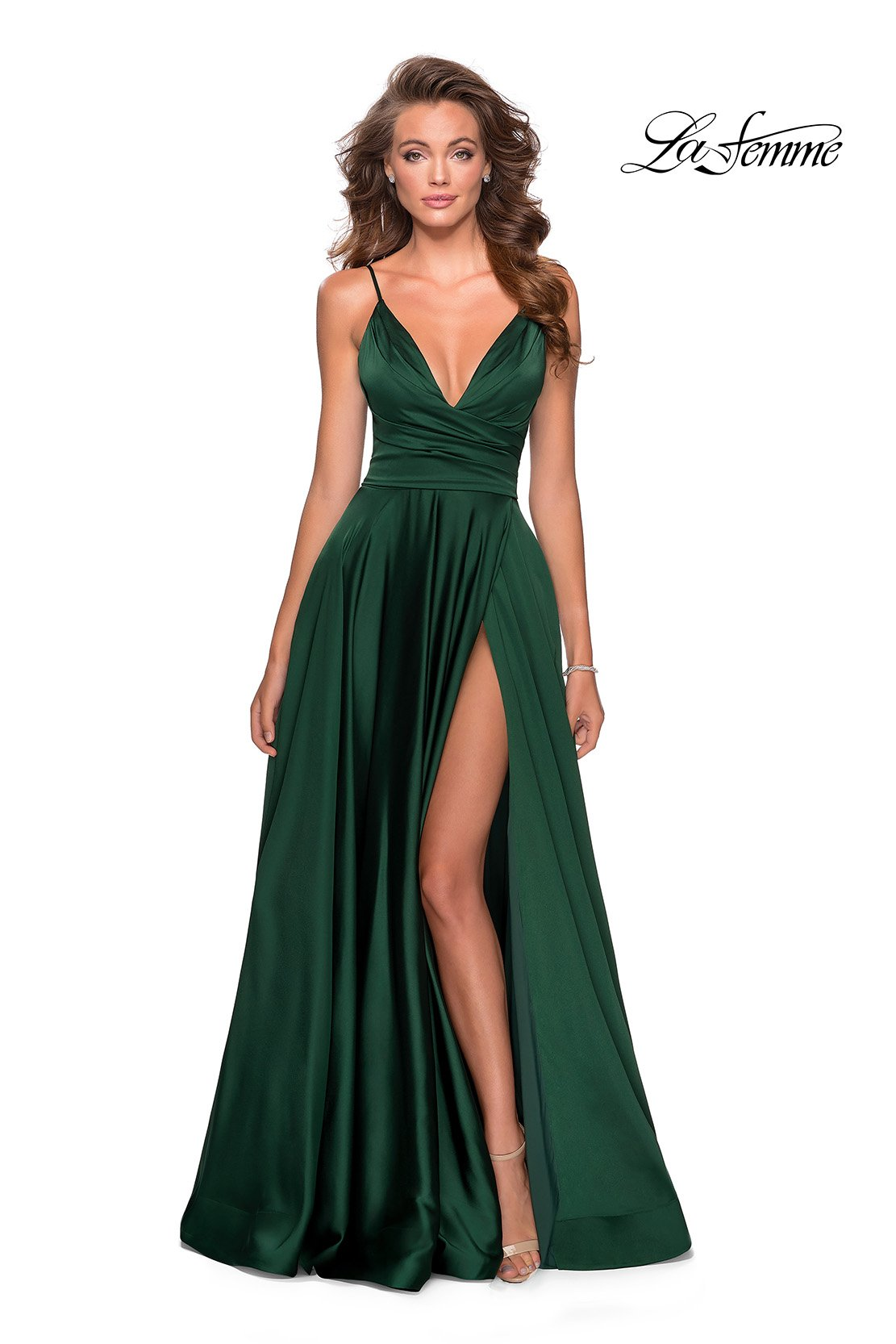 La Femme 28607 prom dress images.  La Femme 28607 is available in these colors: Emerald, Mauve, Navy, Pale Yellow, Royal Blue, Royal Purple.