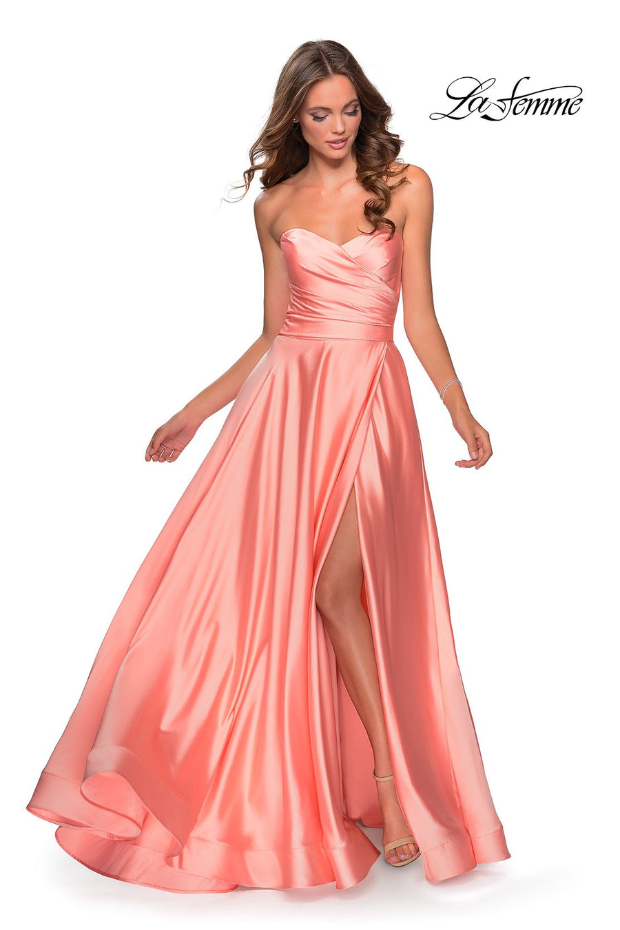 La Femme 28608 prom dress images.  La Femme 28608 is available in these colors: Blush, Emerald, Navy, Pale Yellow, Peach, Silver, White, Wine.