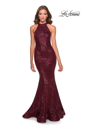 La Femme 28612 prom dress images.  La Femme 28612 is available in these colors: Burgundy, Champagne, Emerald, Mint, Navy.