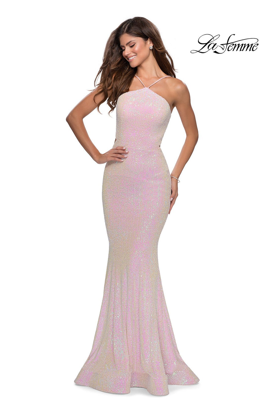 La Femme 28614 prom dress images.  La Femme 28614 is available in these colors: Light Pink.