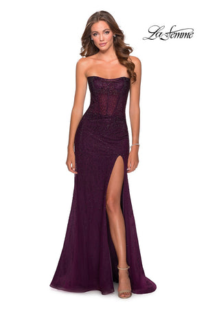 La Femme 28621 prom dress images.  La Femme 28621 is available in these colors: Dark Berry, Emerald, Navy.