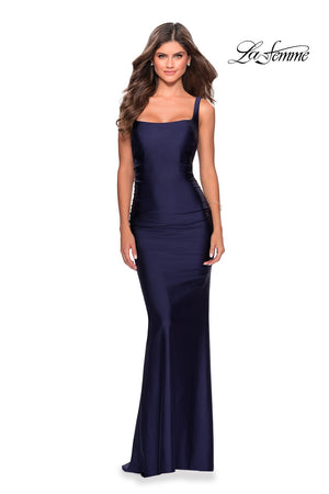 La Femme 28634 prom dress images.  La Femme 28634 is available in these colors: Burgundy, Navy.