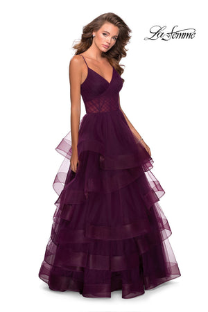 La Femme 28641 prom dress images.  La Femme 28641 is available in these colors: Dark Berry, Lilac Mist.
