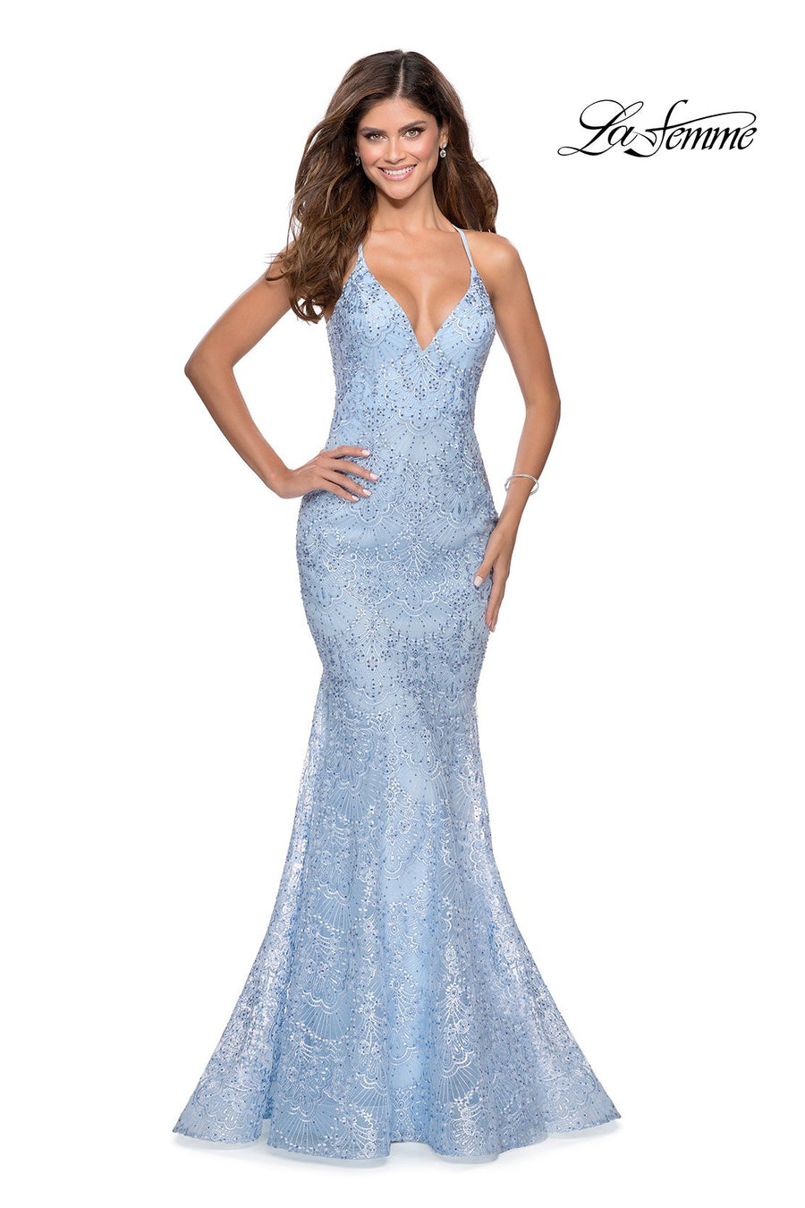 La Femme 28643 prom dress images.  La Femme 28643 is available in these colors: Cloud Blue, Emerald, Pale Yellow, Red.