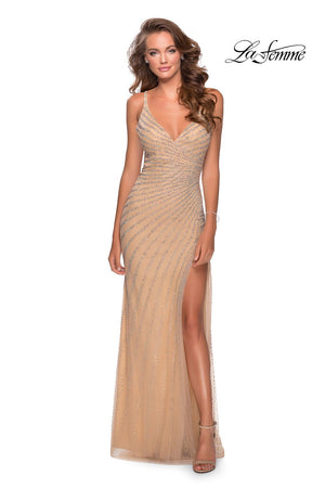 La Femme 28646 prom dress images.  La Femme 28646 is available in these colors: Cloud Blue, Nude.
