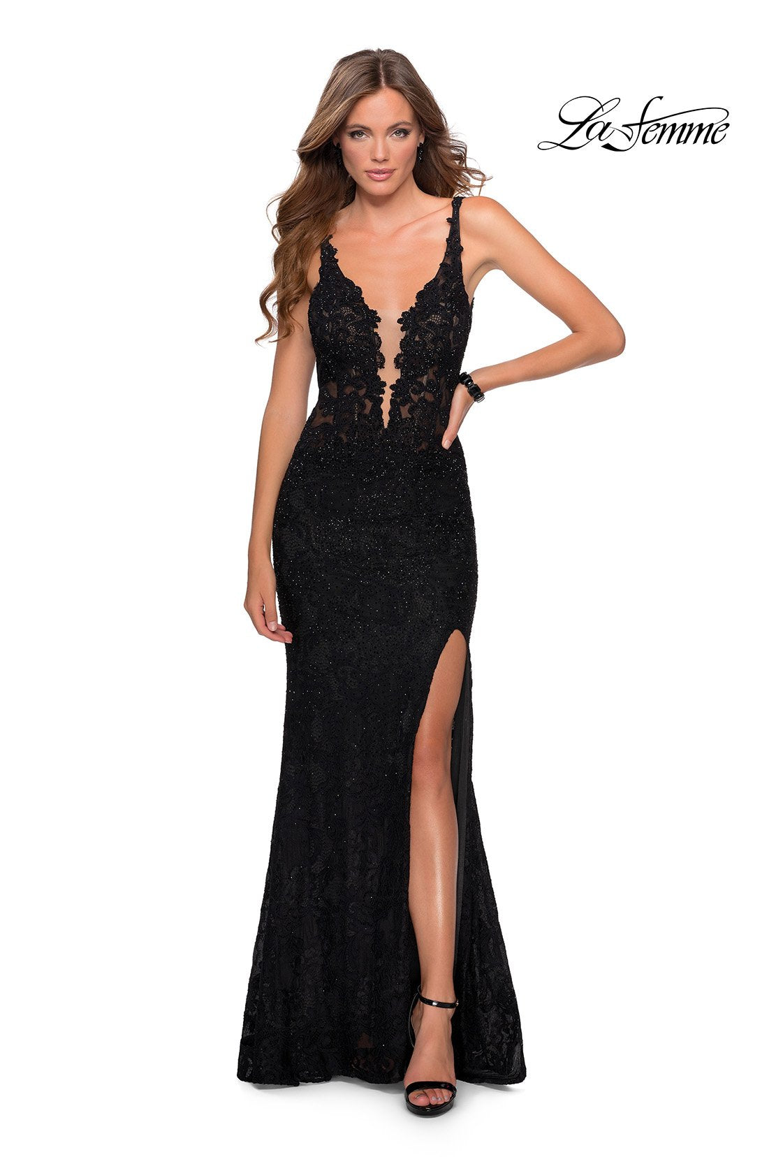 La Femme 28648 prom dress images.  La Femme 28648 is available in these colors: Black, Dark Berry.