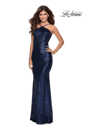 La Femme 28650 prom dress images.  La Femme 28650 is available in these colors: Black, Burgundy, Champagne, Mint, Navy, Rose Gold, White.