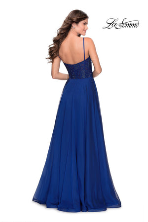 La Femme 28664 prom dress images.  La Femme 28664 is available in these colors: Black, Marine Blue, Pale Yellow, Wine.