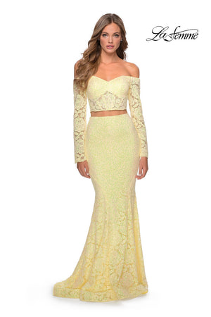 La Femme 28666 prom dress images.  La Femme 28666 is available in these colors: Lavender, Pale Yellow, Red, White.