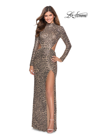La Femme 28667 prom dress images.  La Femme 28667 is available in these colors: Leopard.