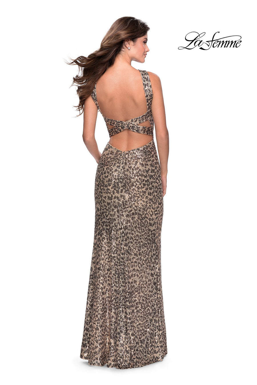 La Femme 28672 prom dress images.  La Femme 28672 is available in these colors: Leopard.