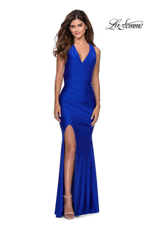 La Femme 28677 prom dress images.  La Femme 28677 is available in these colors: Black, Dark Berry, Mauve, Royal Blue, White.