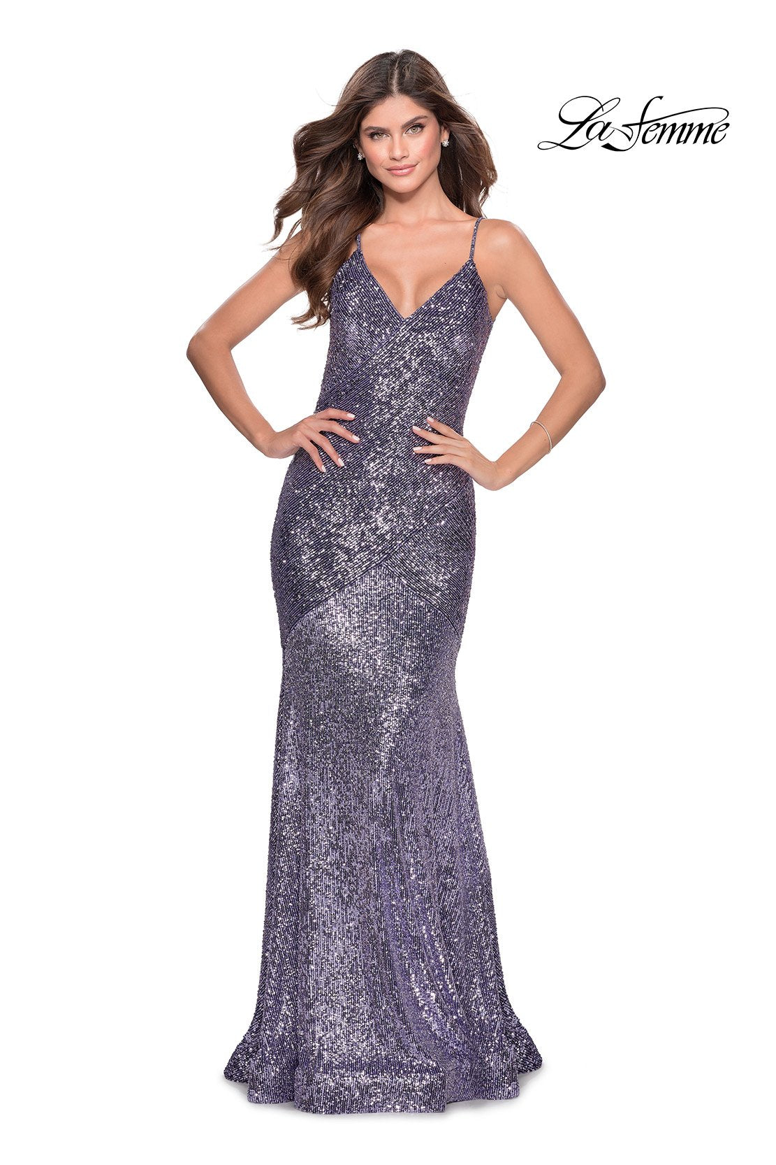 La Femme 28713 prom dress images.  La Femme 28713 is available in these colors: Lavender, Silver.