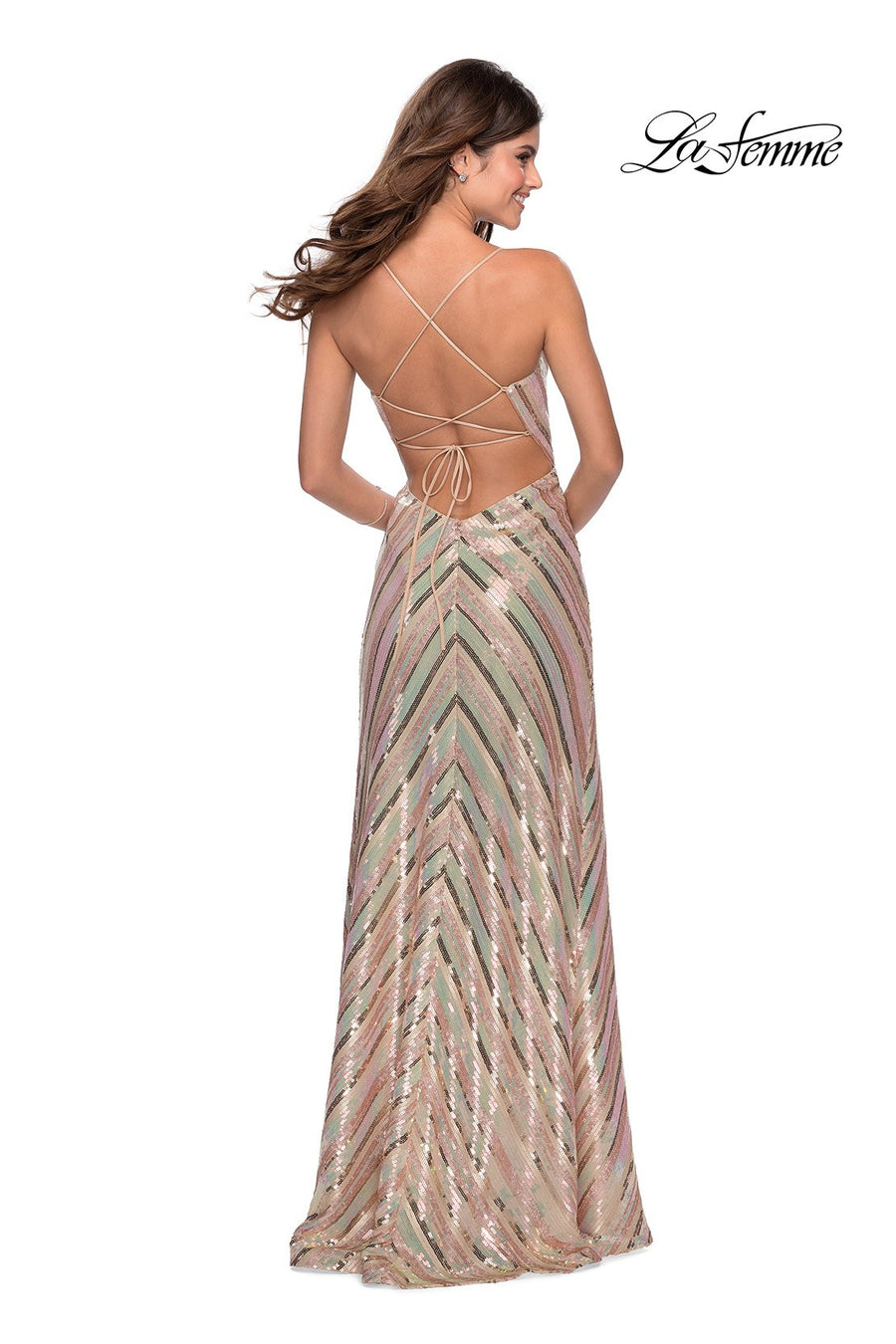 La Femme 28717 prom dress images.  La Femme 28717 is available in these colors: Nude Multi, White Multi.