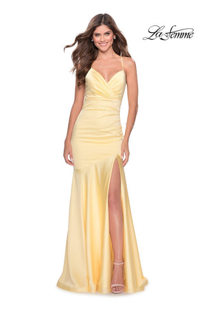 La Femme 28720 prom dress images.  La Femme 28720 is available in these colors: Black, Emerald, Navy, Pale Yellow, Red.