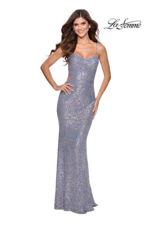 La Femme 28724 prom dress images.  La Femme 28724 is available in these colors: Blue Multi.