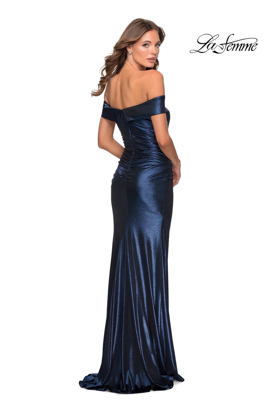 La Femme 28740 prom dress images.  La Femme 28740 is available in these colors: Navy, Peach.