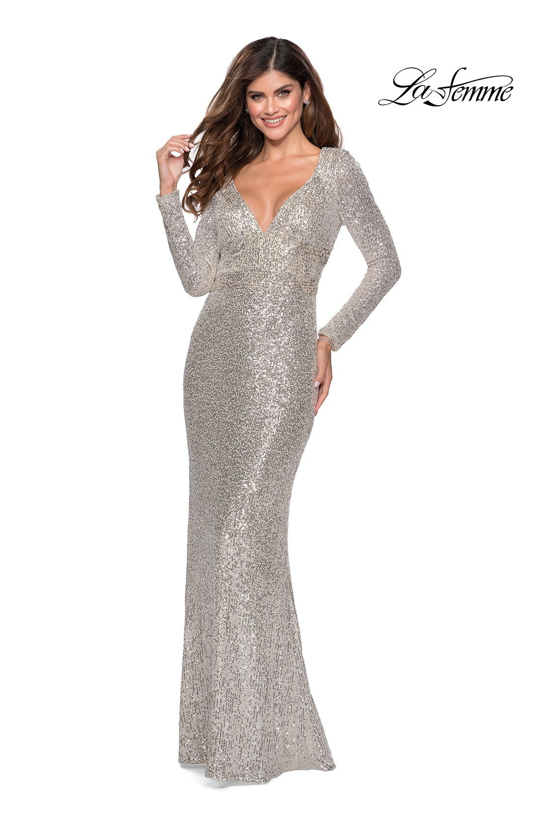 La Femme 28743 prom dress images.  La Femme 28743 is available in these colors: Champagne, Silver.