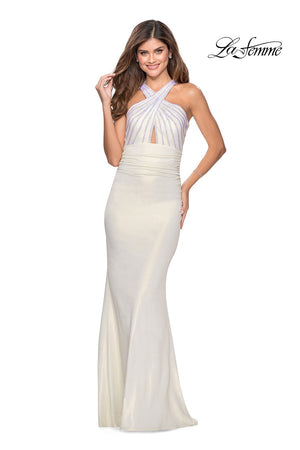 La Femme 28745 prom dress images.  La Femme 28745 is available in these colors: Blush, Navy, White.