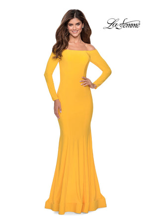 La Femme 28754 prom dress images.  La Femme 28754 is available in these colors: Black, Red, Yellow.