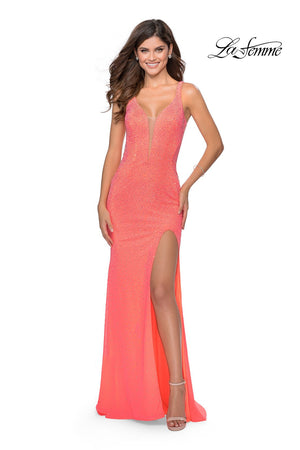 La Femme 28760 prom dress images.  La Femme 28760 is available in these colors: Neon Coral, Neon Yellow.