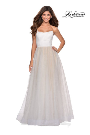 La Femme 28764 prom dress images.  La Femme 28764 is available in these colors: White.