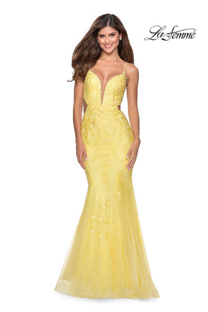 La Femme 28768 prom dress images.  La Femme 28768 is available in these colors: Lilac Mist, Peach, Yellow.