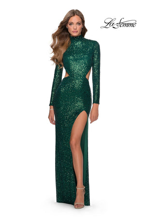 La Femme 28771 prom dress images.  La Femme 28771 is available in these colors: Black, Emerald, Red, Royal Blue, White.
