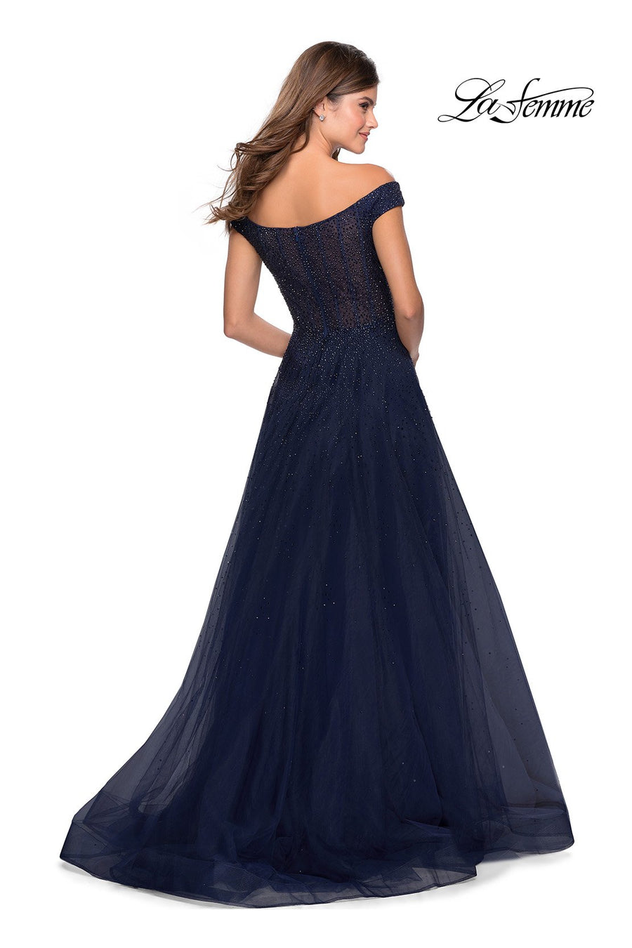 La Femme 28774 prom dress images.  La Femme 28774 is available in these colors: Dark Berry, Navy.