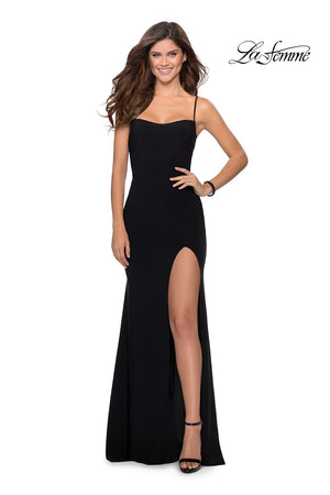 La Femme 28792 prom dress images.  La Femme 28792 is available in these colors: Black, Red.