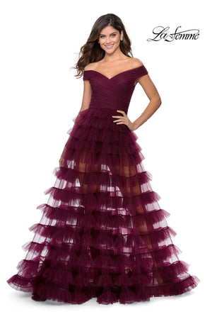 La Femme 28804 prom dress images.  La Femme 28804 is available in these colors: Black, Dark Berry.