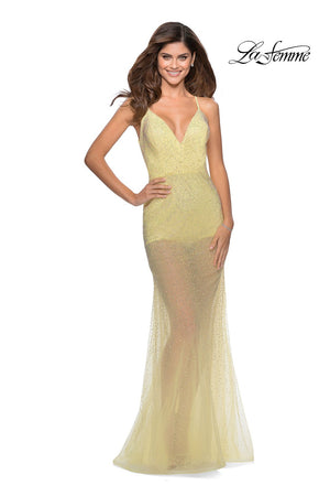 La Femme 28806 prom dress images.  La Femme 28806 is available in these colors: Cloud Blue, Pale Yellow, White.