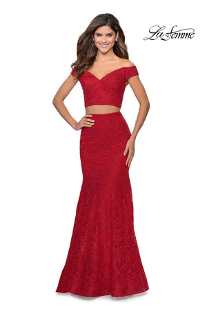 La Femme 28816 prom dress images.  La Femme 28816 is available in these colors: Red.