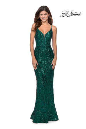 La Femme 28828 prom dress images.  La Femme 28828 is available in these colors: Burgundy, Emerald, Navy.