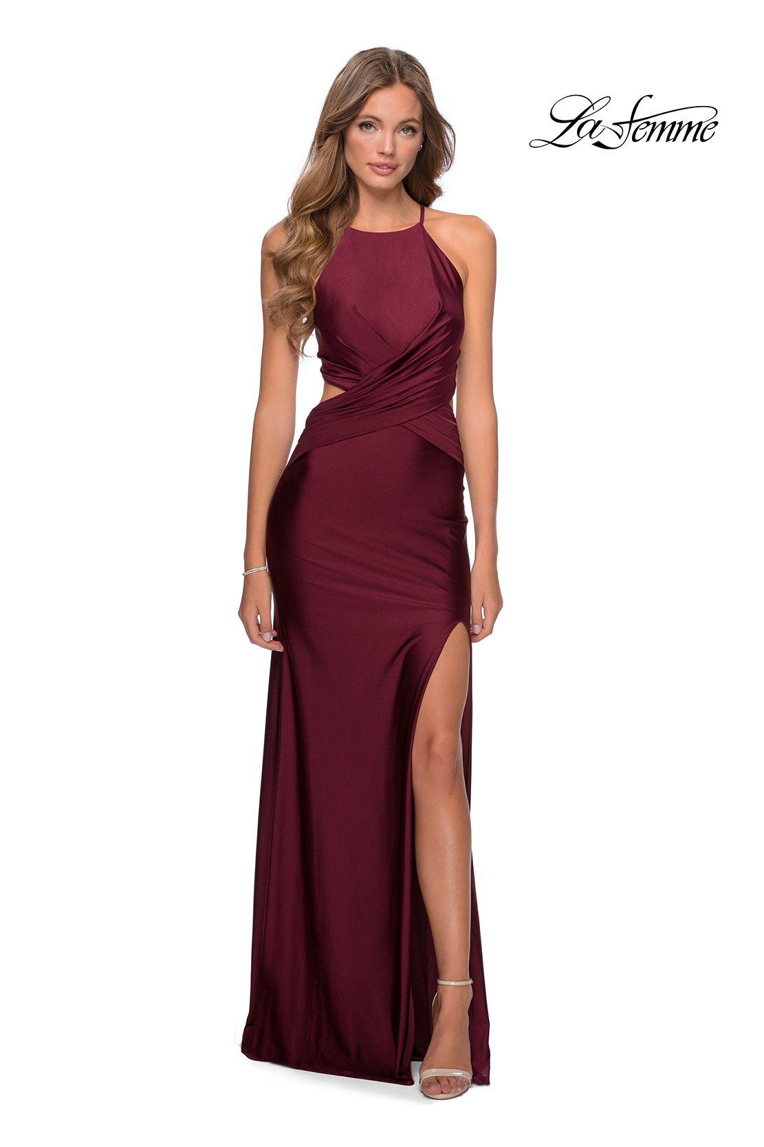 La Femme 28834 prom dress images.  La Femme 28834 is available in these colors: Dark Berry, Royal Blue.
