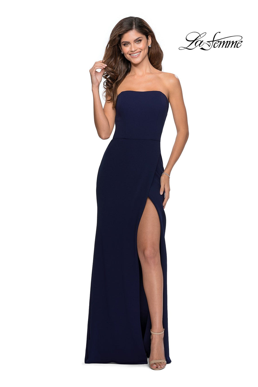 La Femme 28835 prom dress images.  La Femme 28835 is available in these colors: Navy, Wine.