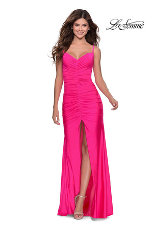 La Femme 28891 prom dress images.  La Femme 28891 is available in these colors: Neon Pink, Neon Yellow.